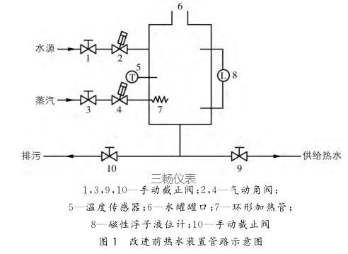 改进前热水装置管路示意图