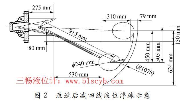 改造前减四线液位浮球示意