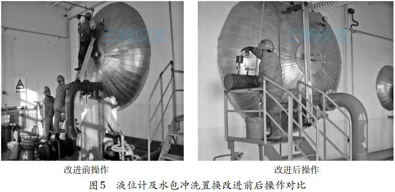 液位计及水包冲洗置换改进前后操作对比