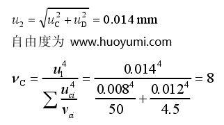 双轴倾斜补偿器对校准结果引入的标准不确 定度分量 u2
