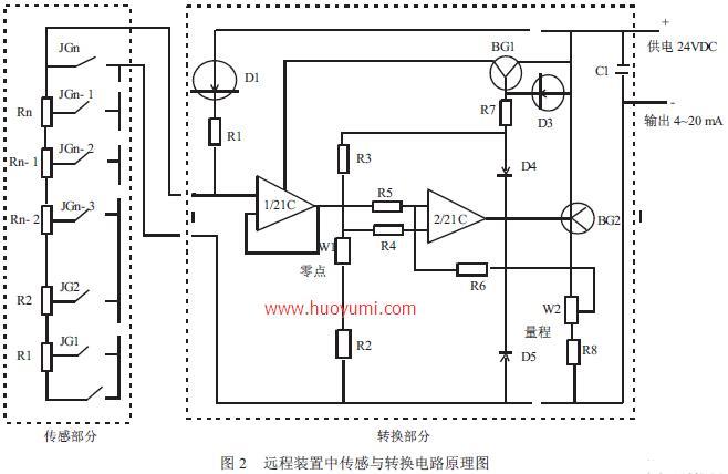 远传磁翻板液位计的远程装置中传感与转换电路原理