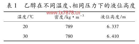 乙醇在不同温度、相同压力下的液位高度